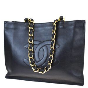 CHANEL CC Logo Chain Shoulder Tote Bag Leather